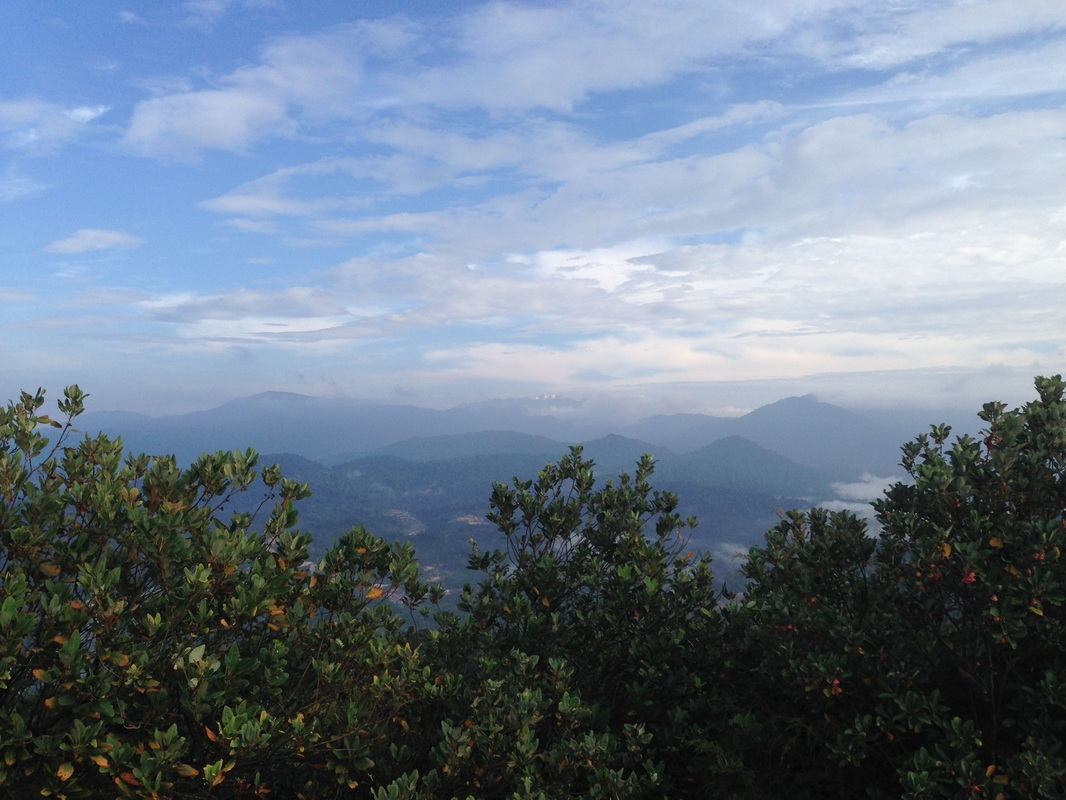 View to the north-east from Bukit Tabur West. Getting Highlands and Gunung Bunga Buah are visible