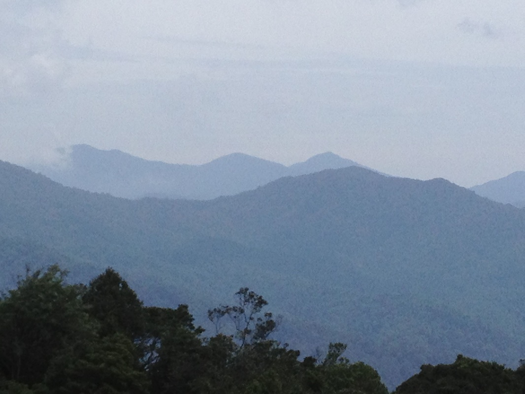 Close-up of Gunung Semangkok (the one in the back, middle peak)