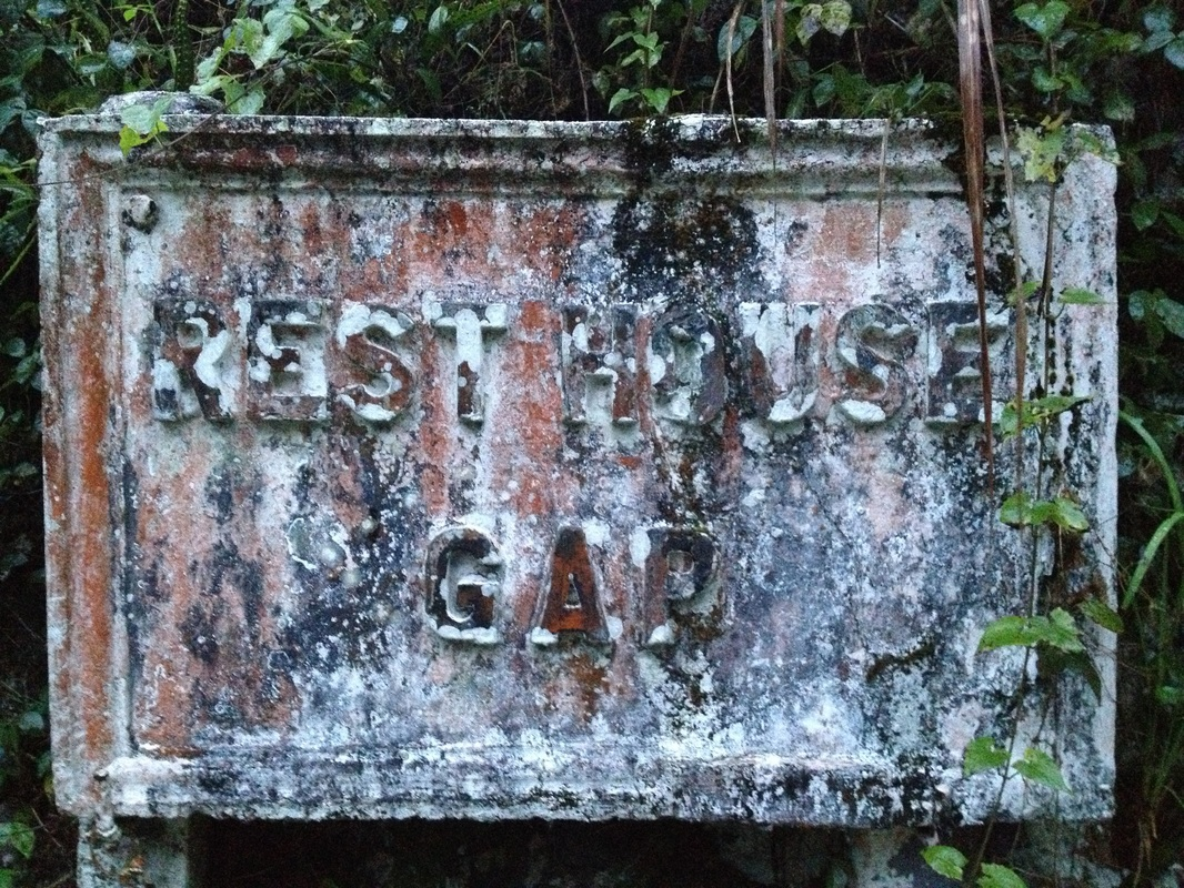 The stone signboard for the now abandoned Gap Resthouse